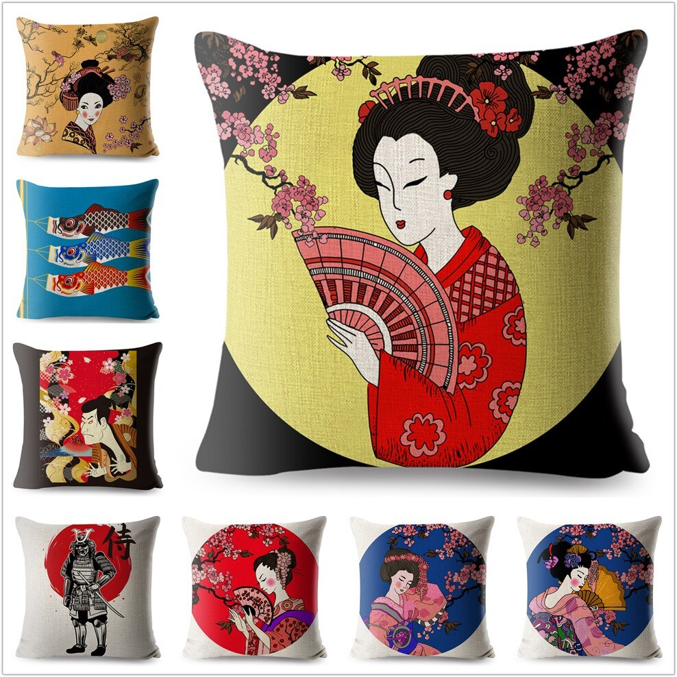 Cartoon Japanese Geisha Print Cushion Cover 45 45cm Square Pillow Case Cotton Linen Pillows Covers Sofa