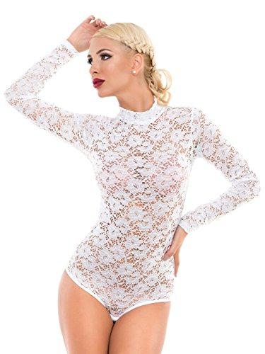 evoni damenbody bodysuit mit halbkragen fur frauen langarm body in verschiedenen farben mit verschluss im schritt transparente unterwasche mit spitzen applikation stretch funktion