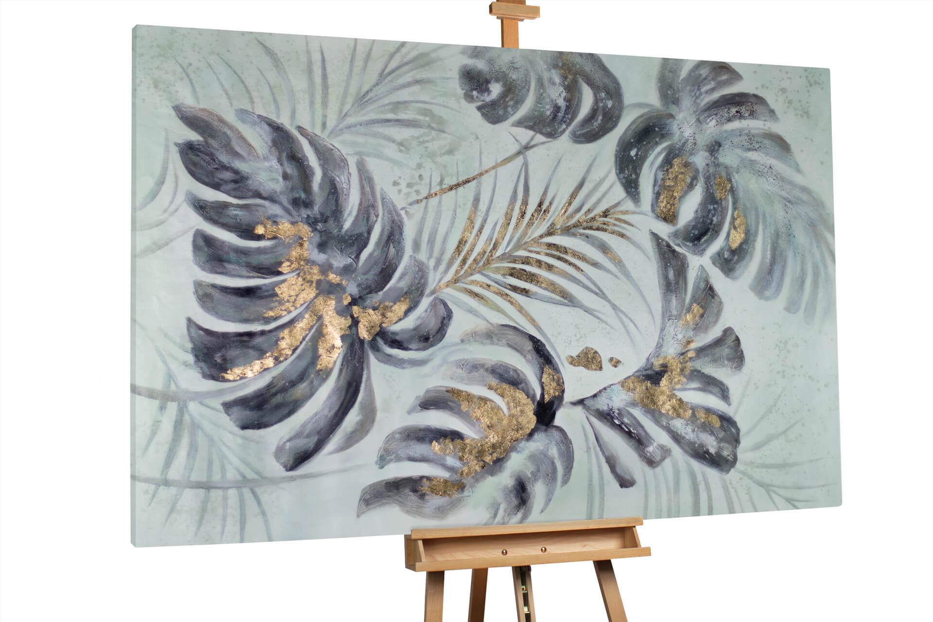 kl palme blaetter gold grau modern acryl gemaelde oel bild 0001 02