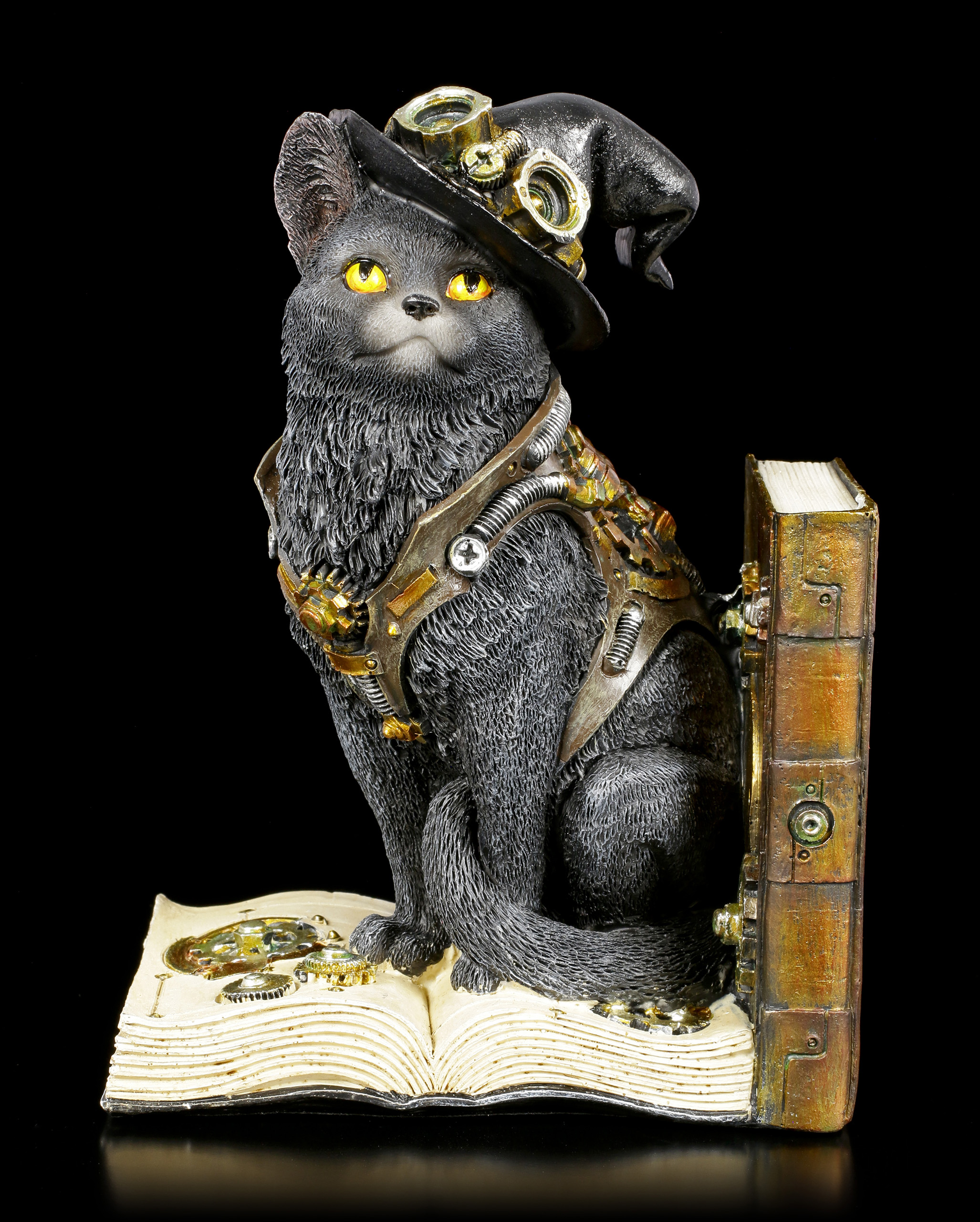 Einzelne Steampunk Katzen Buchstuetze Purring Pioneer Links 1