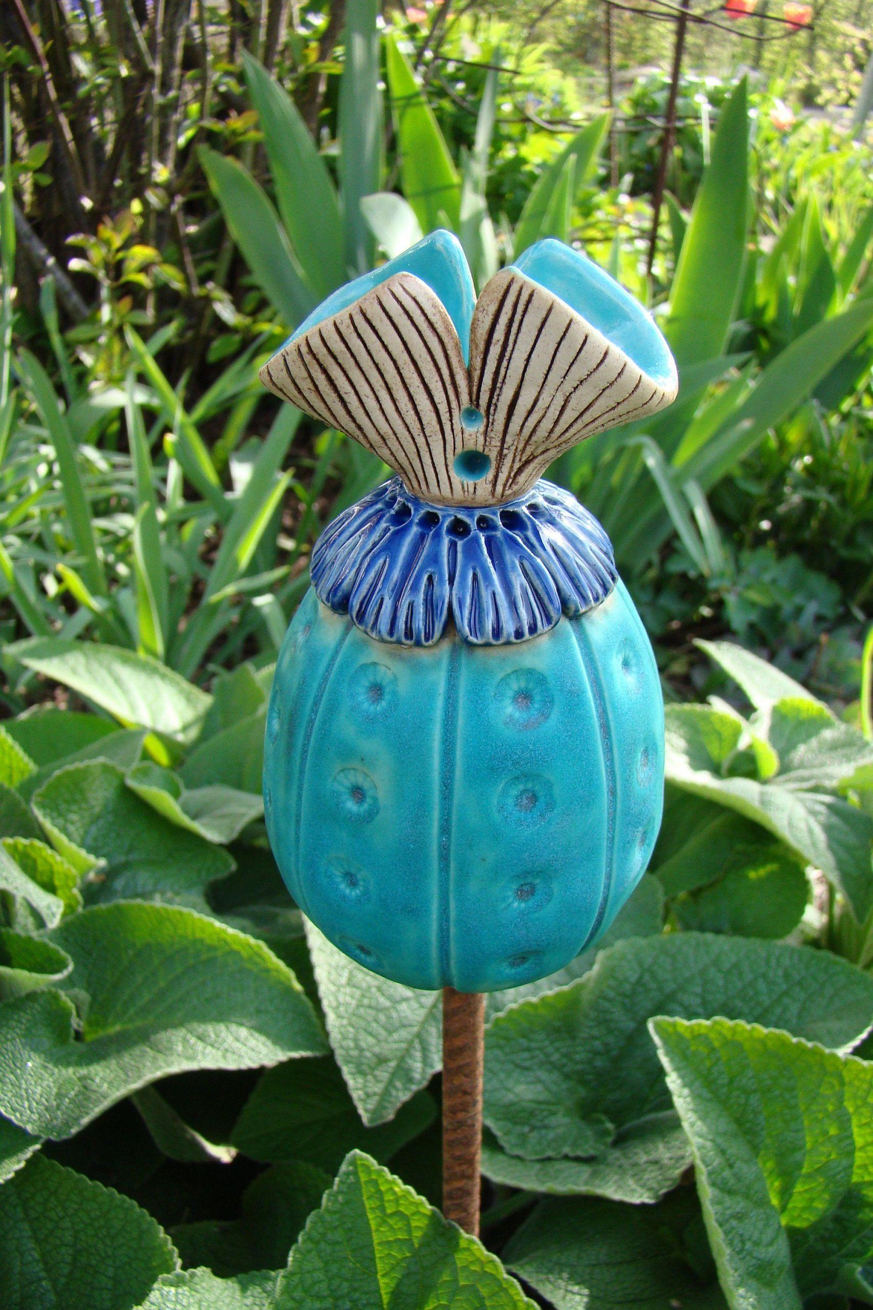 Keramik Gartendeko Frisch Keramik Beetstecker Blumenzwiebel Türkis In 2020