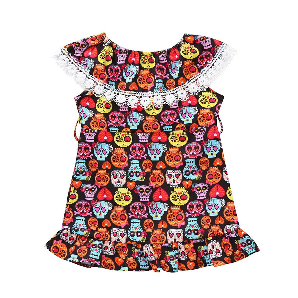 Summer New Fashion Toddler Infant Baby Girls Cartoon Skull Print Dress Halloween Costume Outfits Wholesale Free