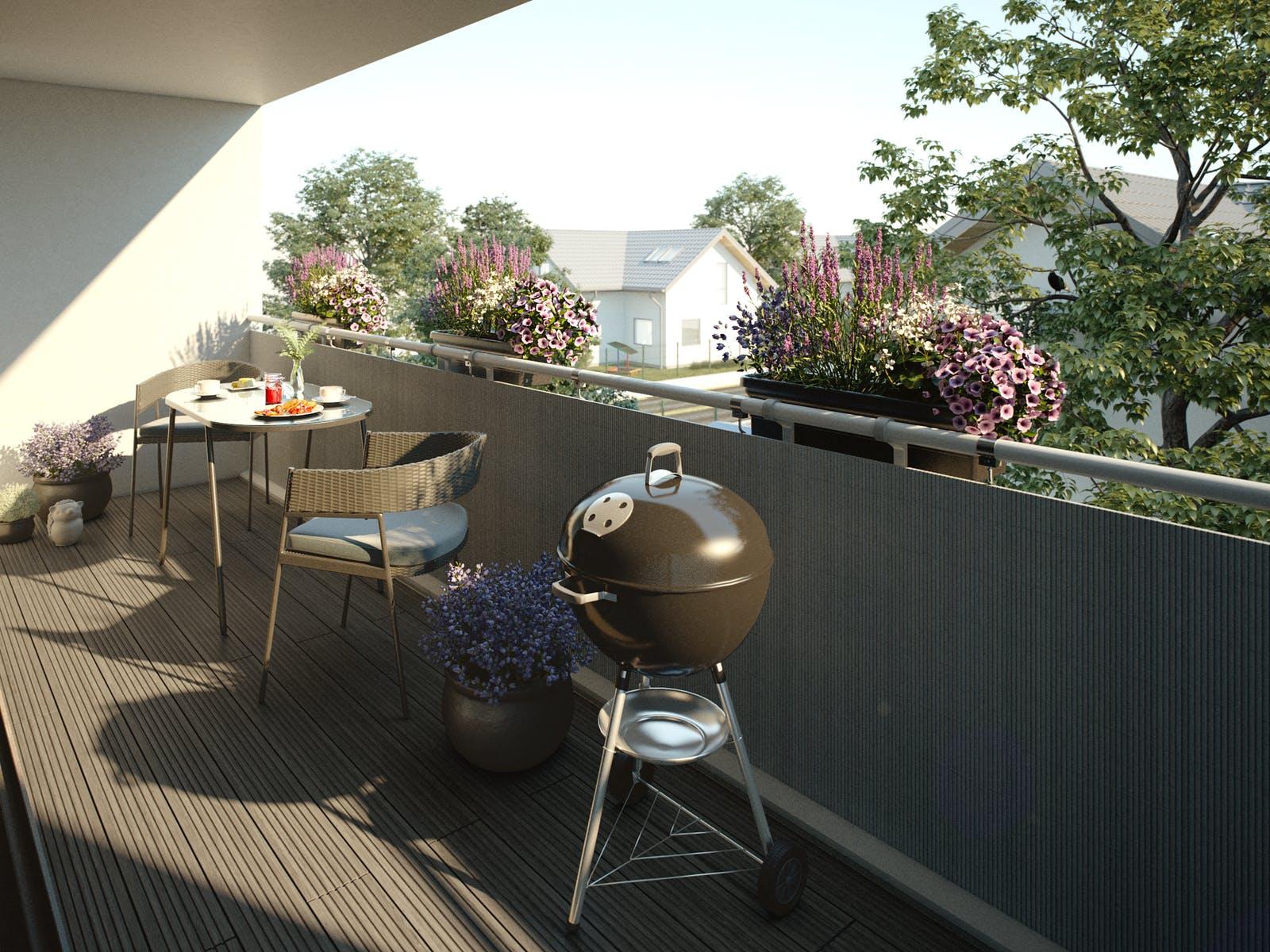 kleine terrasse gestalten kugelgrill