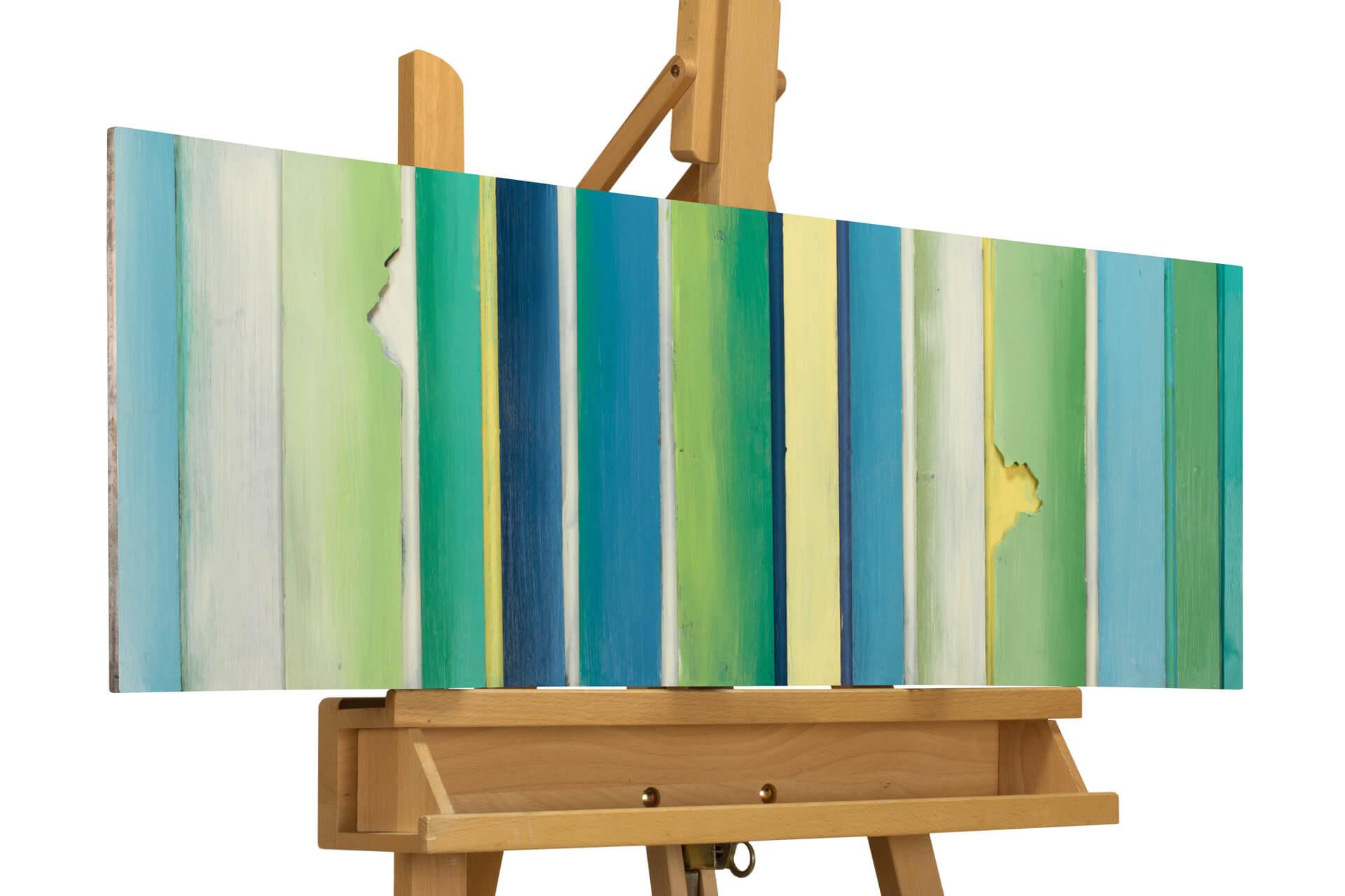 KL abstrakt streifen gruen blau metall bilder metall wandbilder wanddeko wandskulptur 01