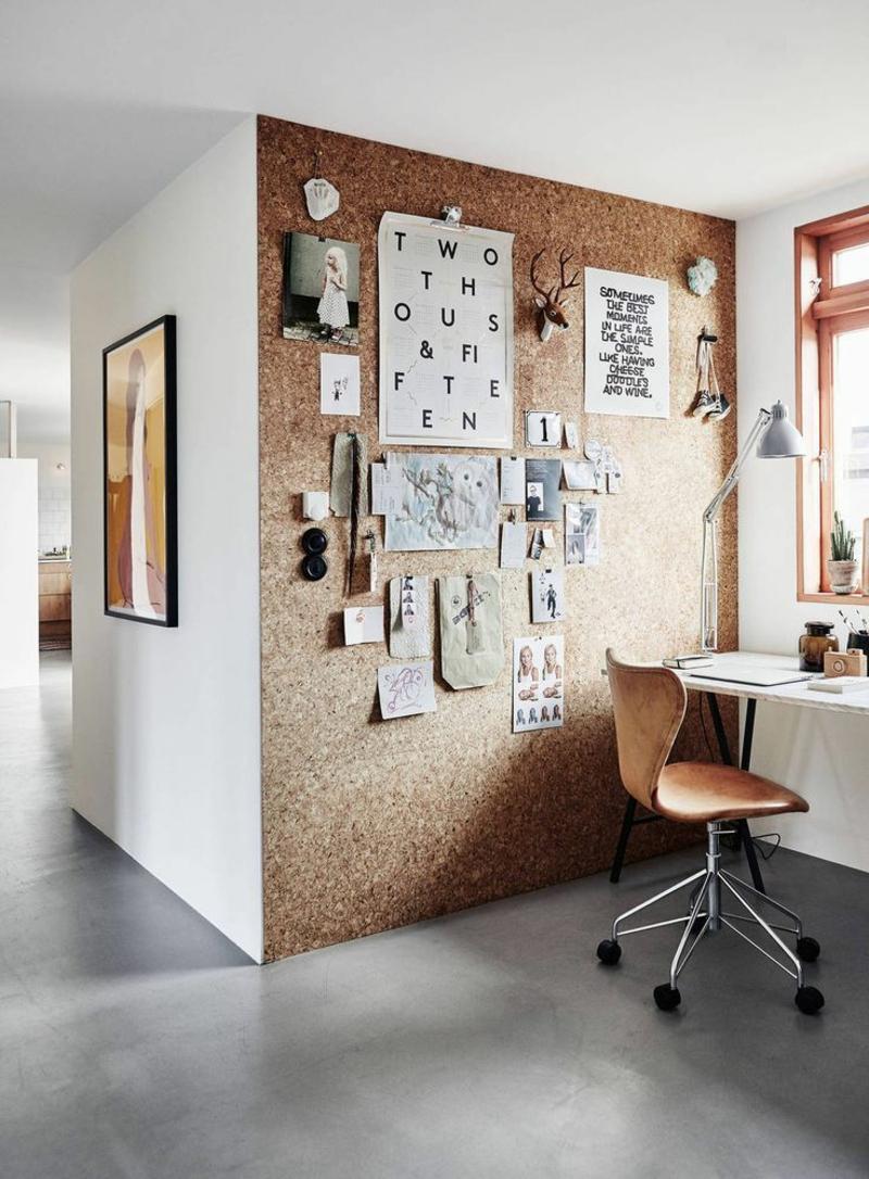 Ideen für kreative Wandgestaltung Arbeitszimmer Korkwand