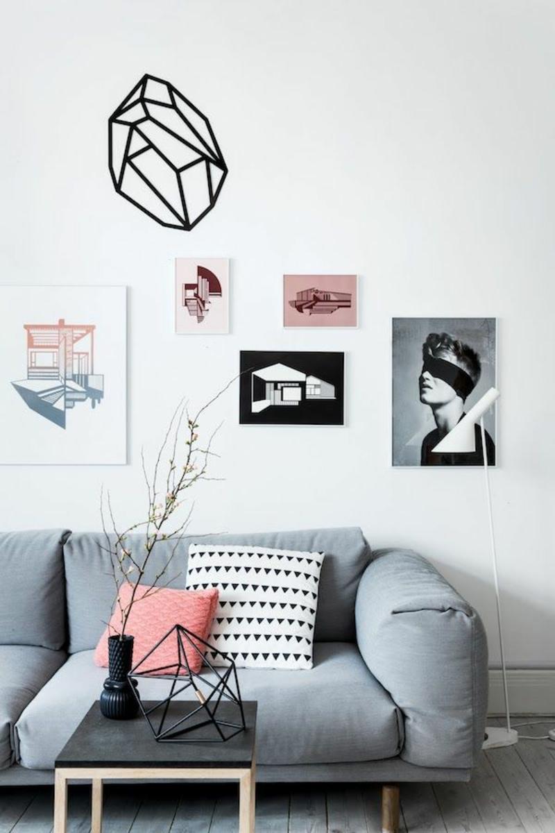 Ideen für kreative Wanddekoration moderne Wandgestaltung Wohnzimmer