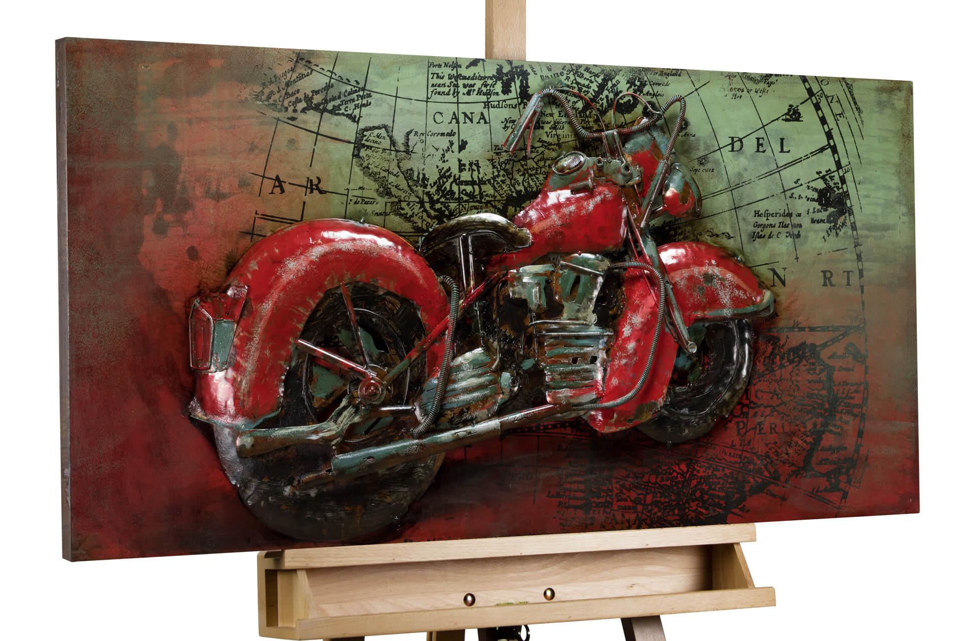 kl motorrad grau rot metall bilder metall wandbilder wanddeko wandskulptur 01