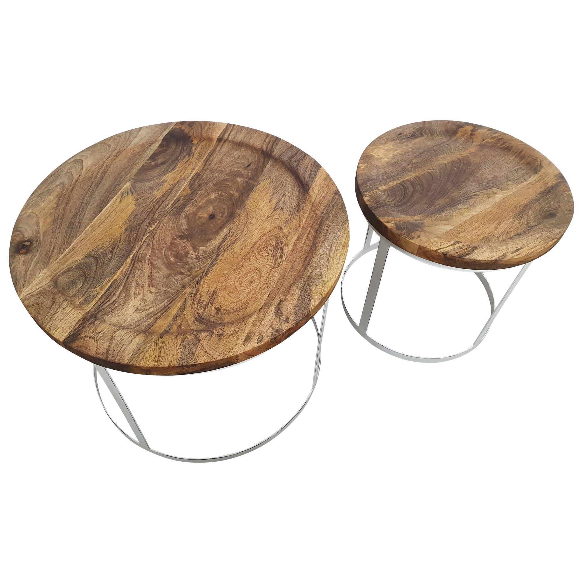 Beistelltisch 2er SET O 55 cm Rund Couchtisch Mango Holz Massiv Moebel Handarbeit 5 1