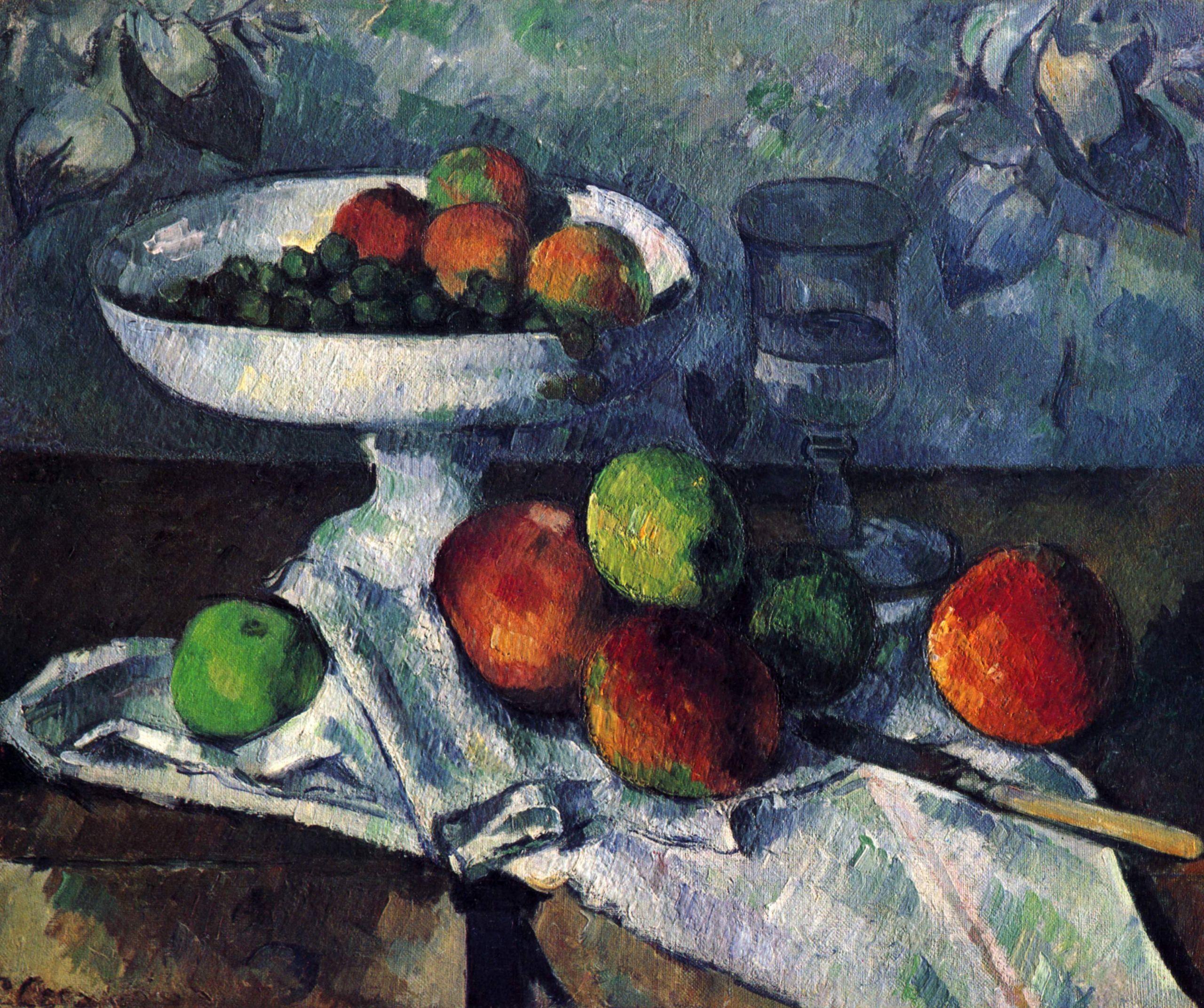 potier verre et pommes par Paul Cézanne