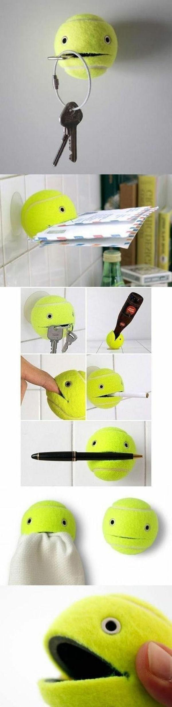 einfache bastelideen tennis ball benutzen