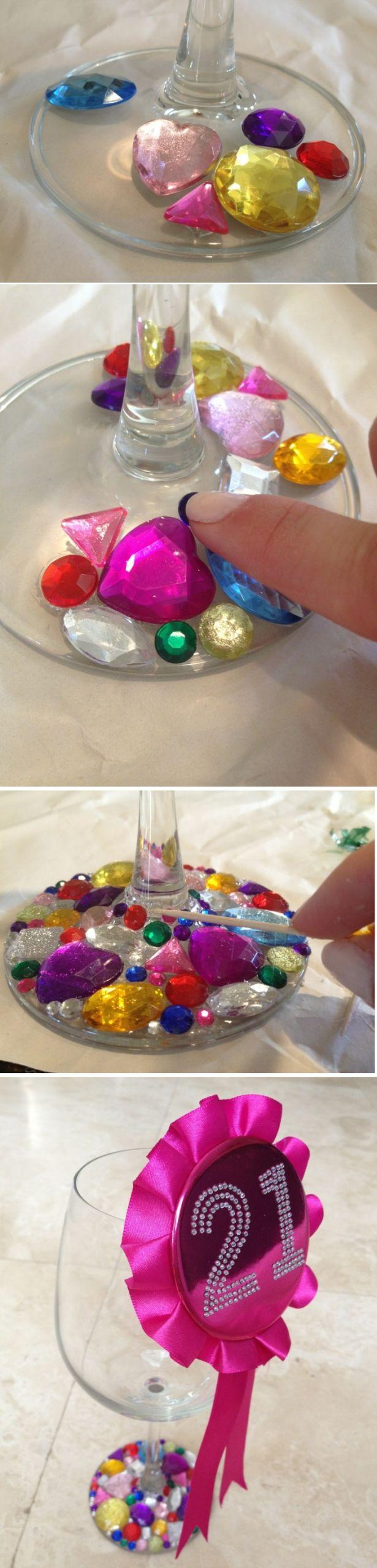 basteln mit gl C3 A4sern glas mit strass strasssteinchen verzieren zahnstocher diy