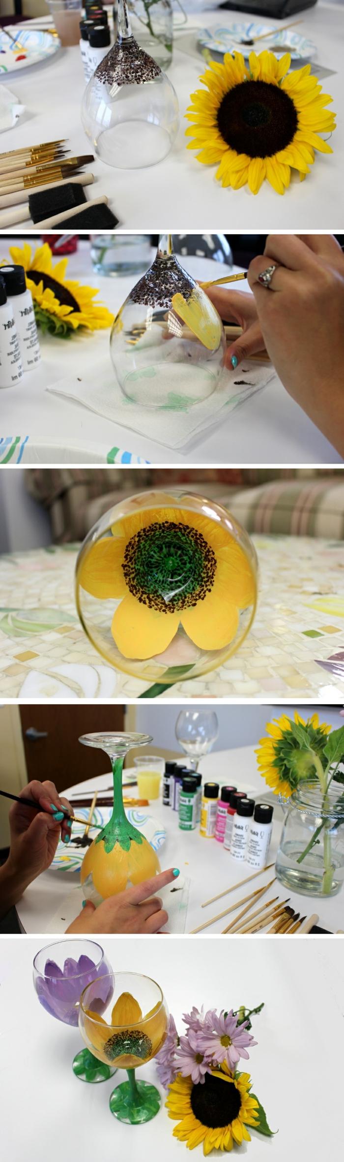9 weingl C3 A4ser dekorieren sonnenblume malen farbe pinsel blumen glasdeko