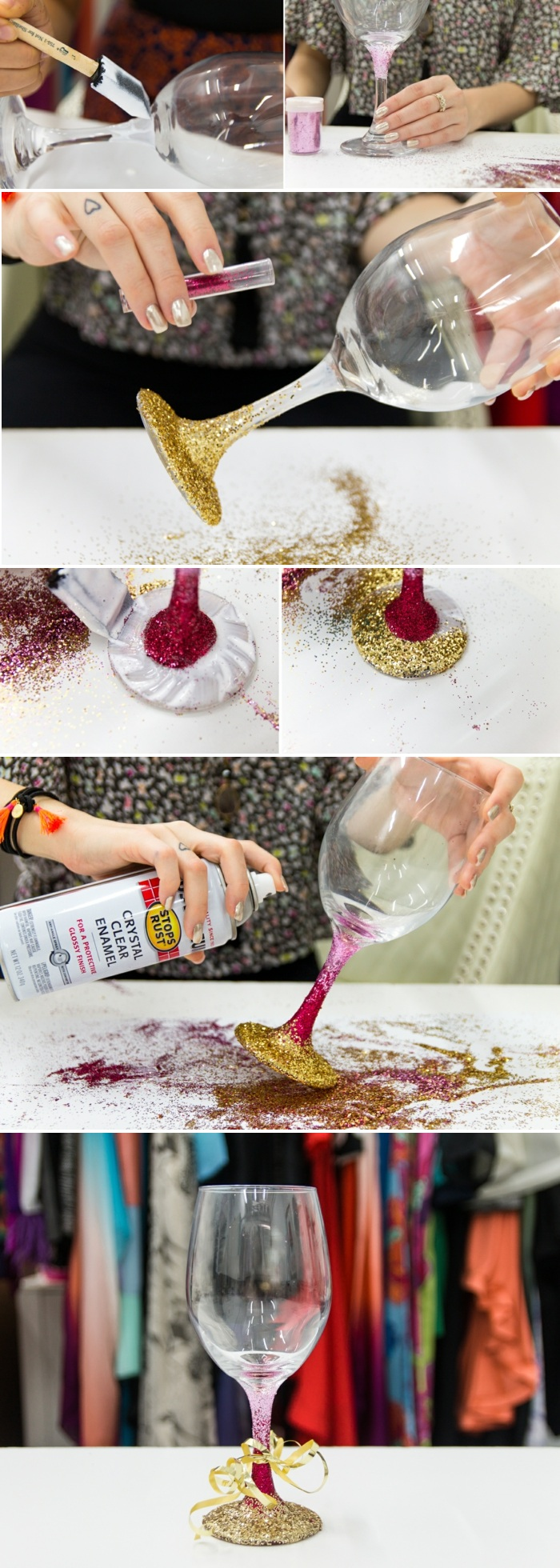 gl C3 A4ser dekorieren stiel mit glitzer verzieren ombre effekt schwammpinsel spray goldene schleife