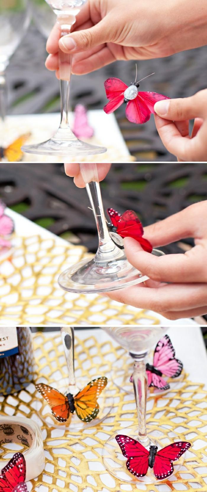 basteln mit gl C3 A4sern schmetterling glas dekoration selber machen glasstiele verzieren