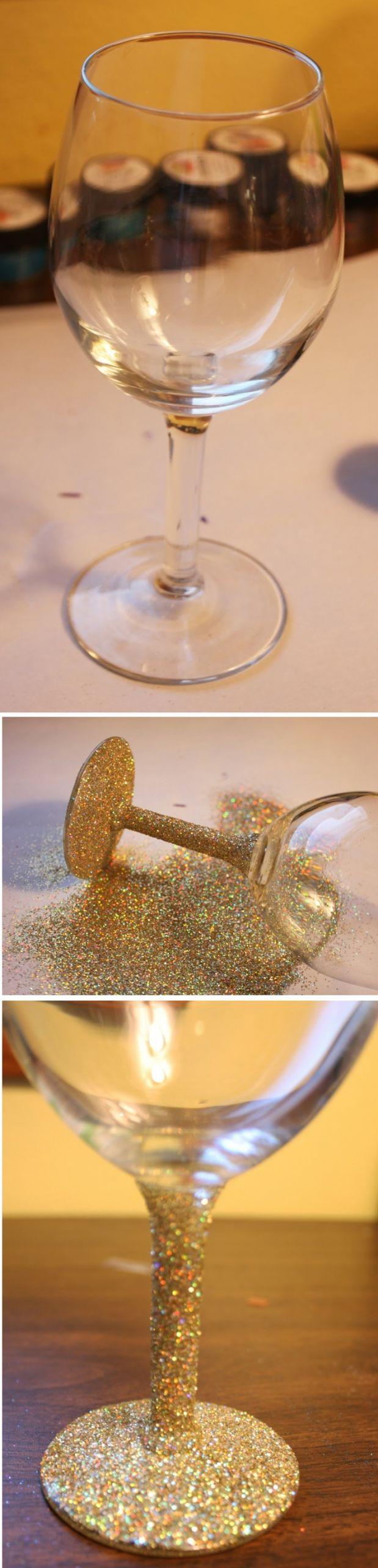 weingl C3 A4ser dekorieren glas weinglas mit goldenem brokat verzieren weinglasdeko
