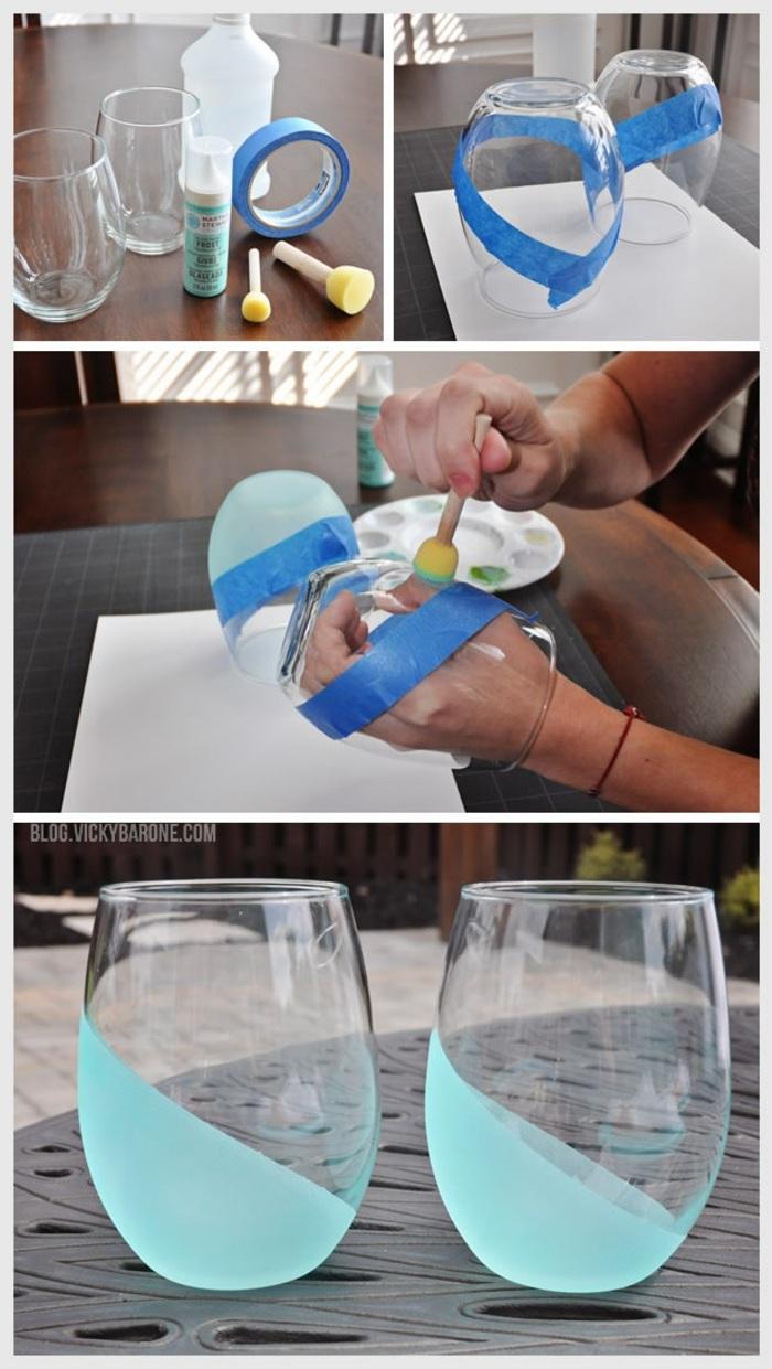 deko glas weinglas ohne stamm schwammpinsel klebeband blaue farbe