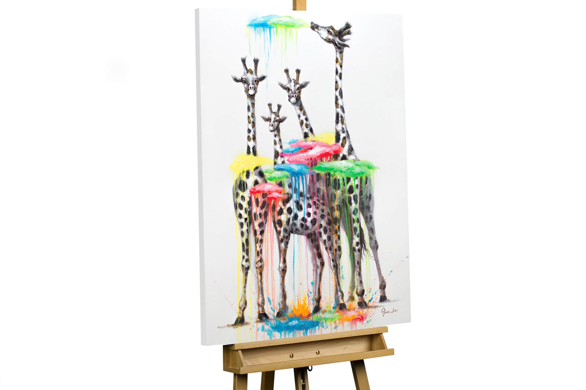 kl girafffen wolken tiere natur modern modern acryl gemaelde oel bild 02