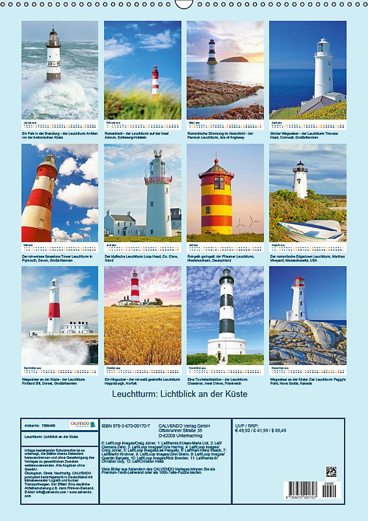 leuchtturm lichtblick an der kueste wandkalender
