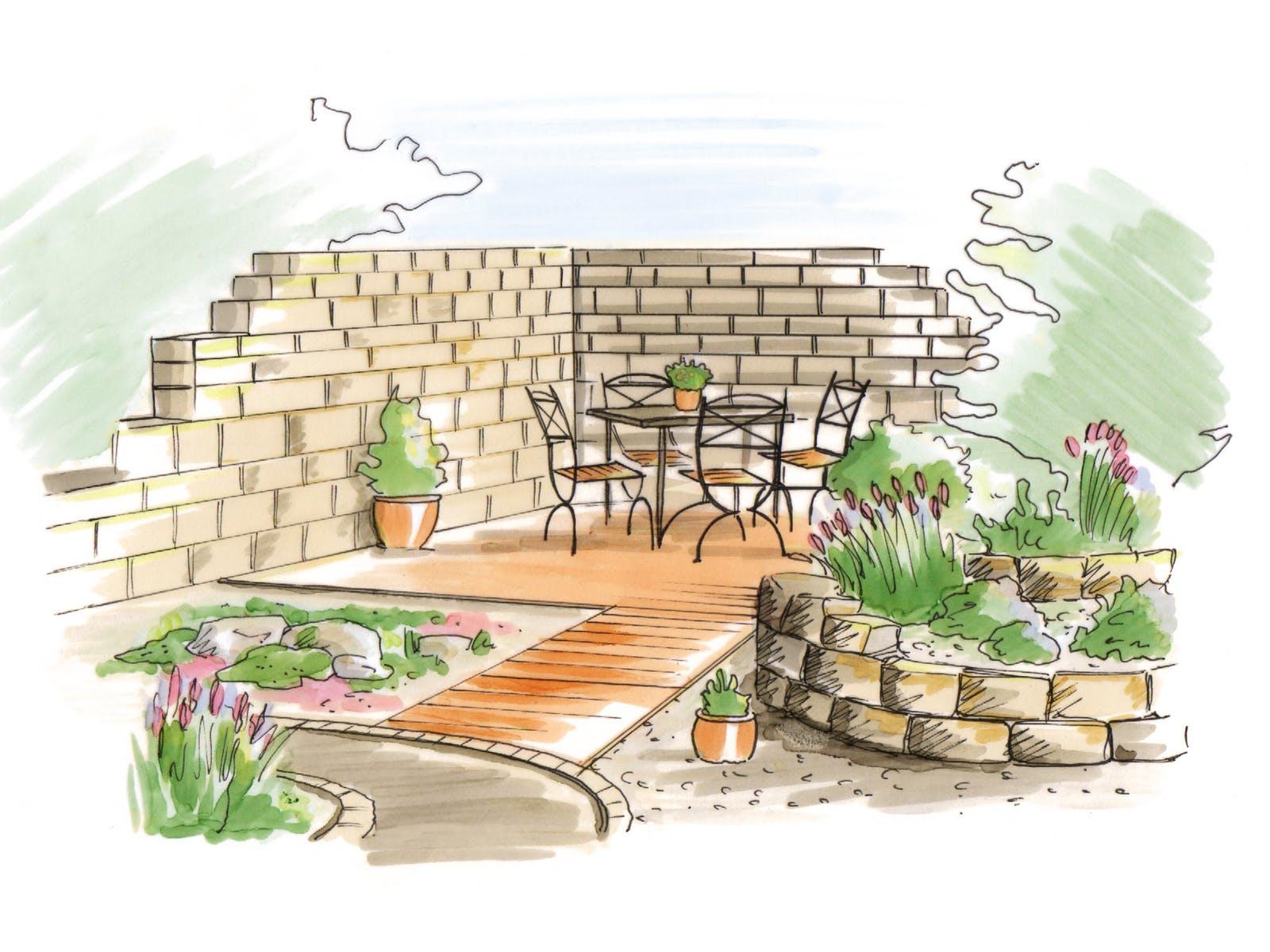 Mediterraner Garten Skizze