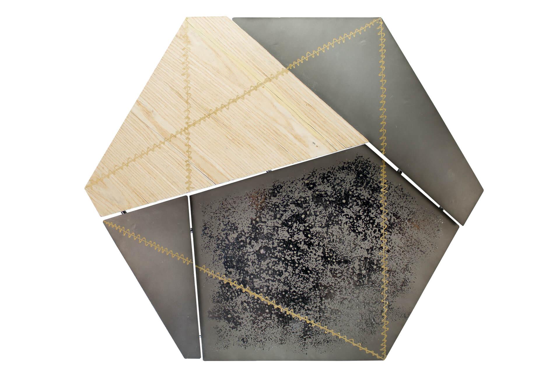 KL abstrakt fuenfeck gelb grau wanddeko metall wandskulptur wandbilder aus metall 01