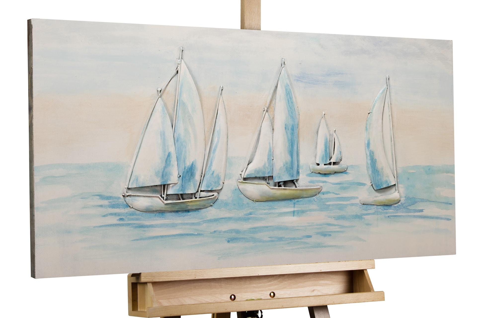 kl segelboote weiss blau metall bilder metall wandbilder wanddeko wandskulptur 01
