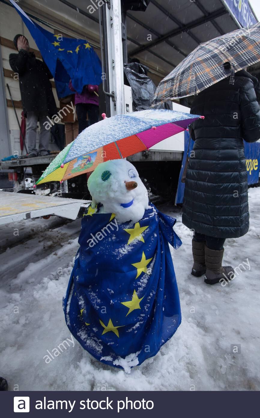 demonstration of the pro european citizens movement pulse of europe in the snowstorm on munichs max joseph platz automated translation 2ABKJXB
