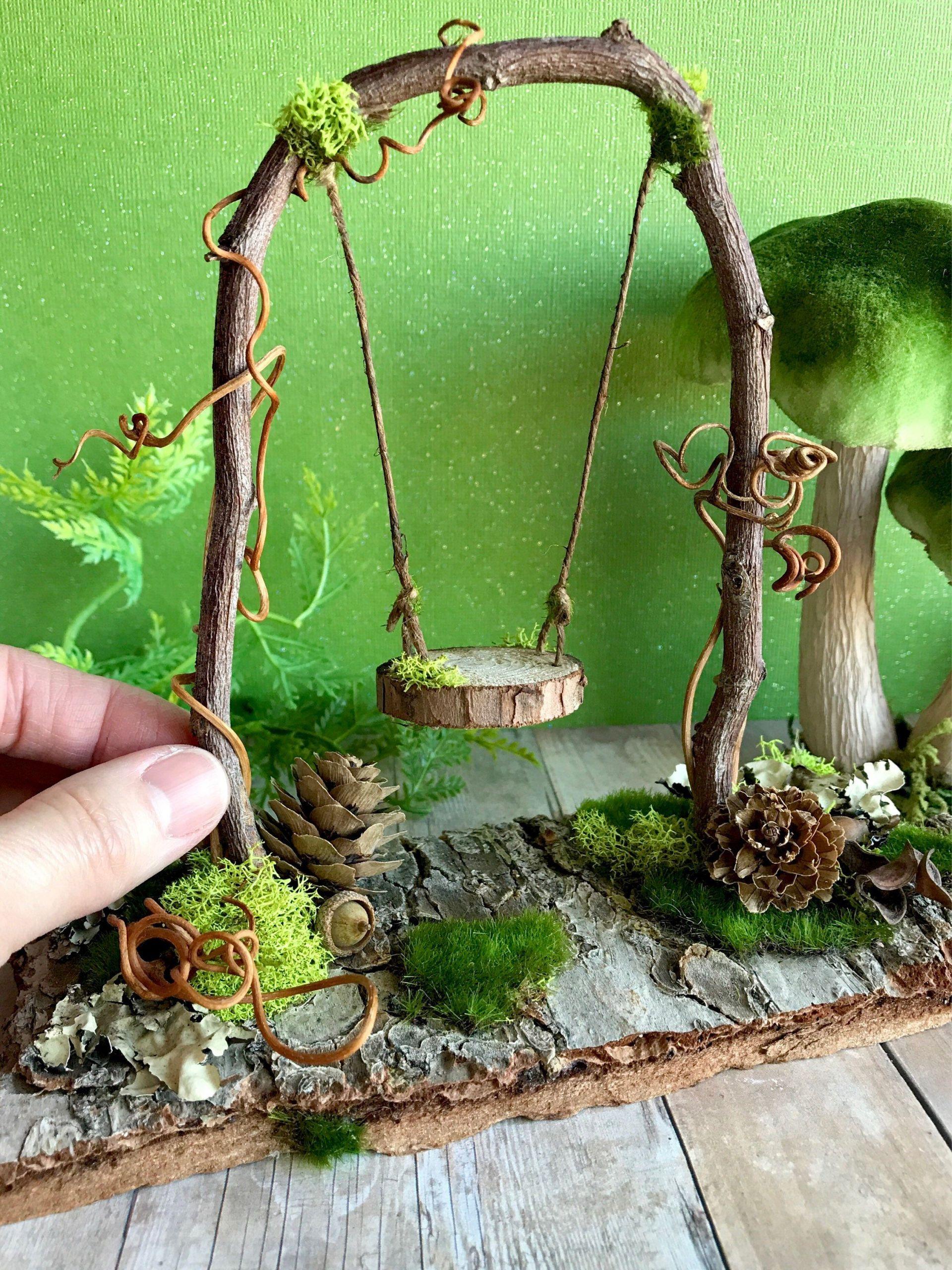 Miniatur Gartenaccessoires Inspirierend Fairy Garden Swing Fairy Dollhouse Miniatures Woodland