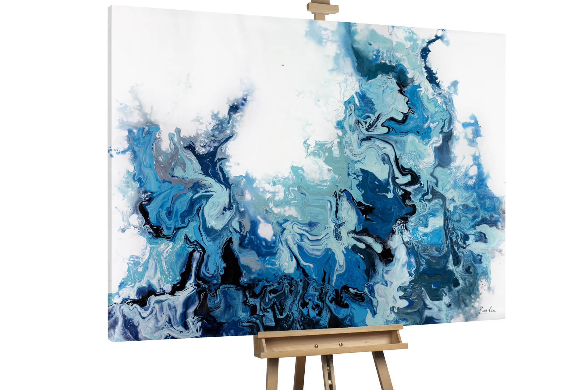 kl abstrakt blau tuerkis weiss modern acryl gemaelde oel bild 0001 02