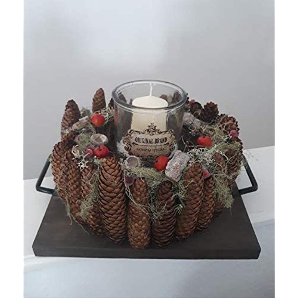 Naturdeko Holz Luxus Großer Herbstkranz Mit Windlicht Tischgesteck Winter