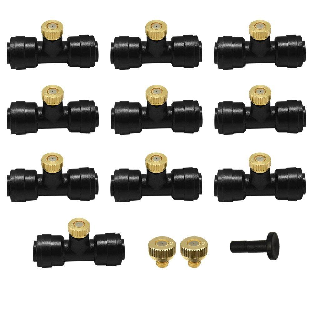 10pcs 1 4 Tube OD Plastic Slip Lock Quick Connect 10 24 UNC Fogging Misting Nozzle