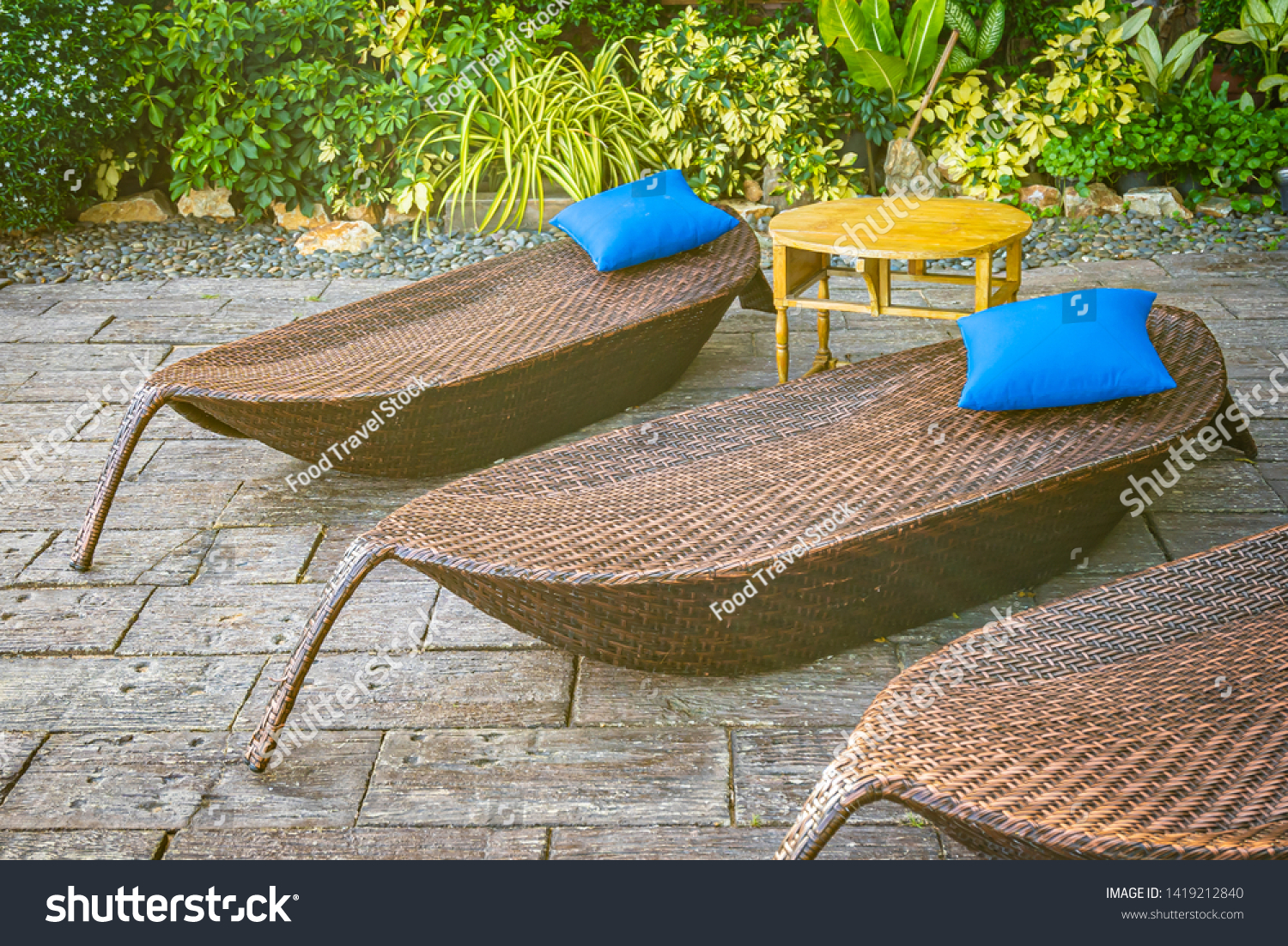 stock photo empty chair decoration outdoor patio for relax and take a break