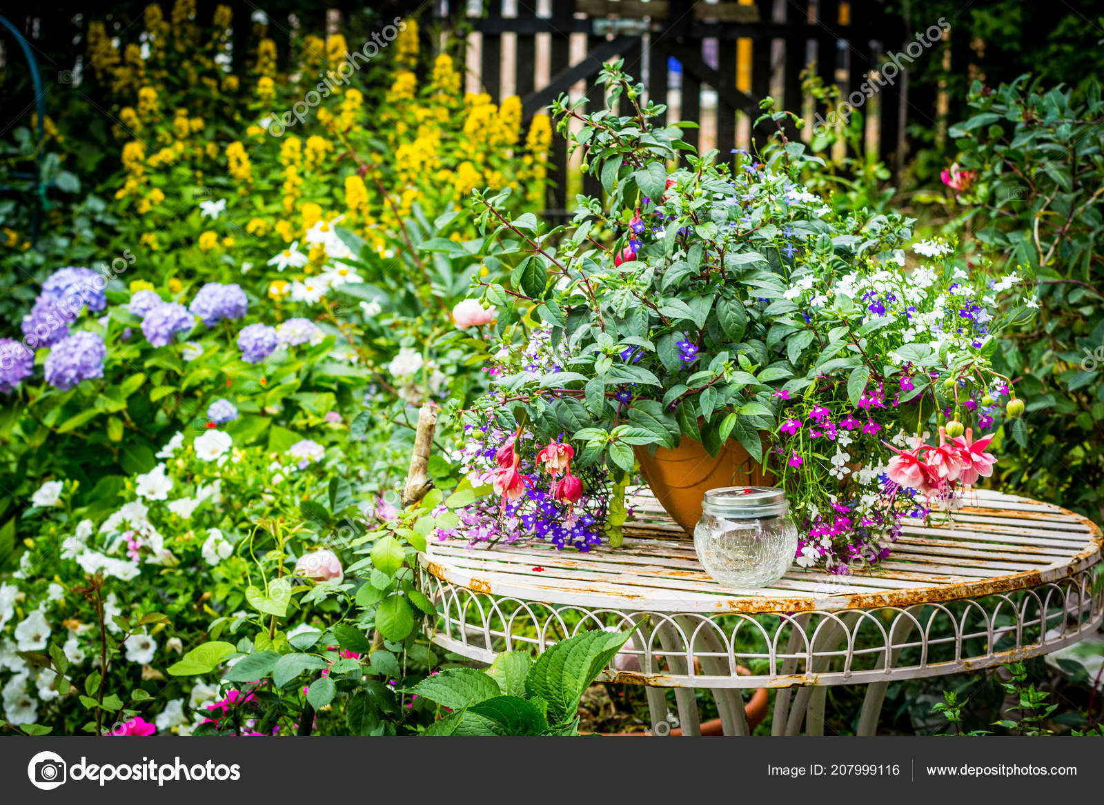 depositphotos stock photo beautiful home garden lots blooming