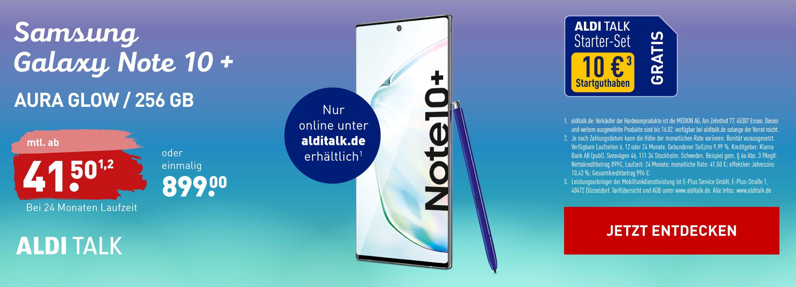 ALDI TALK Galaxy Note 10 Plus NORD Service Banner 3840x1386