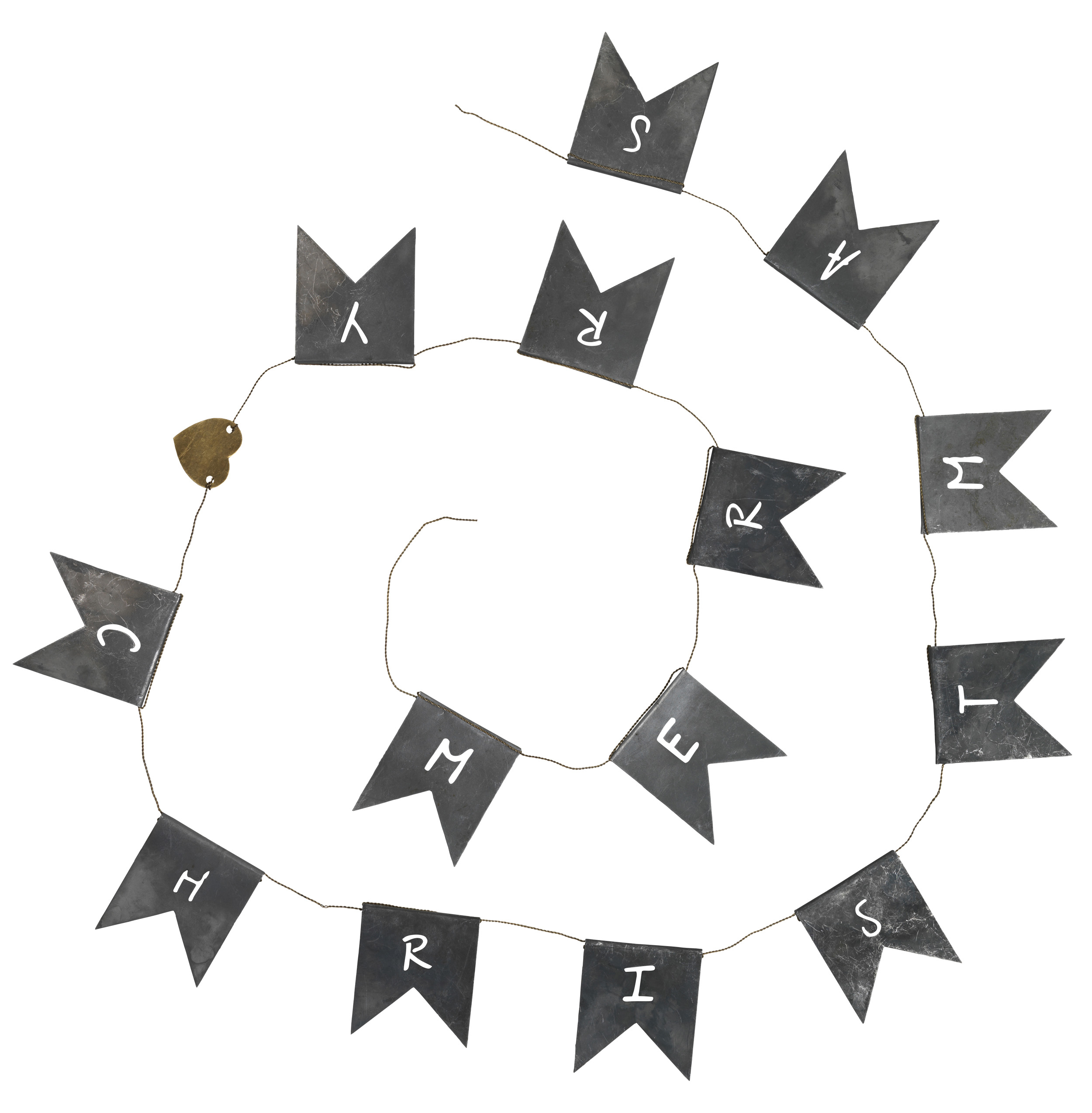 ib laursen merry christmas band deko girlande metall weihnachtsdeko 158 cm