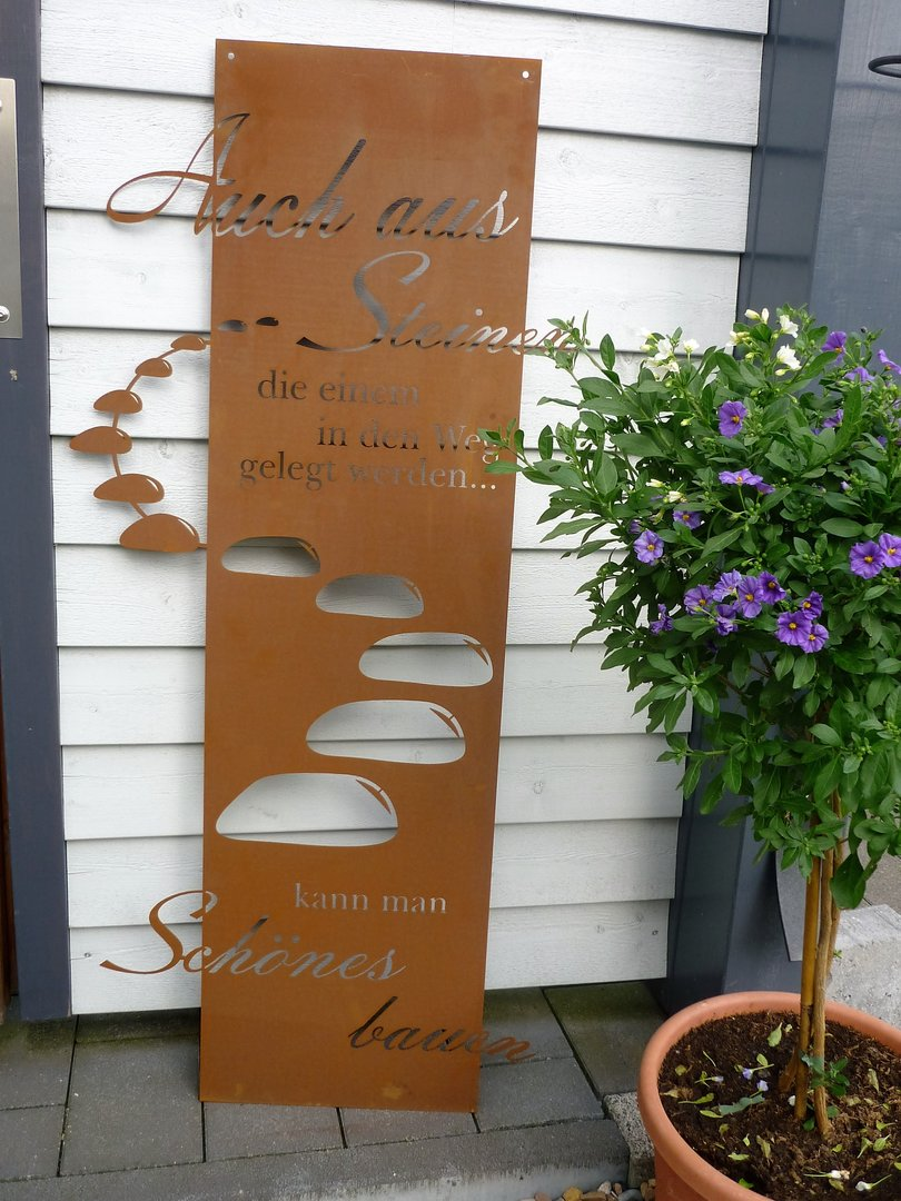 spruch tafel steiniger weg garten schild metall rost deko edelrost