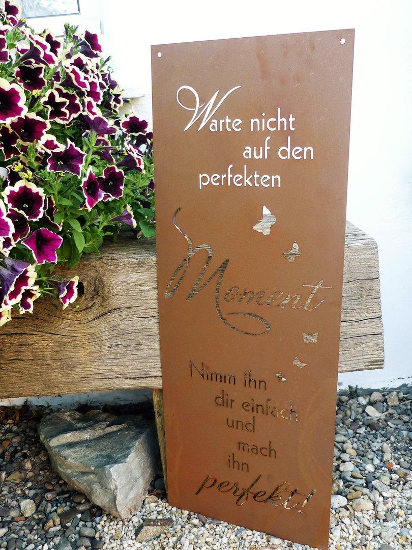 Spruch Tafel Perfekte Moment Garten Schild Metall Rost Deko Edelrost