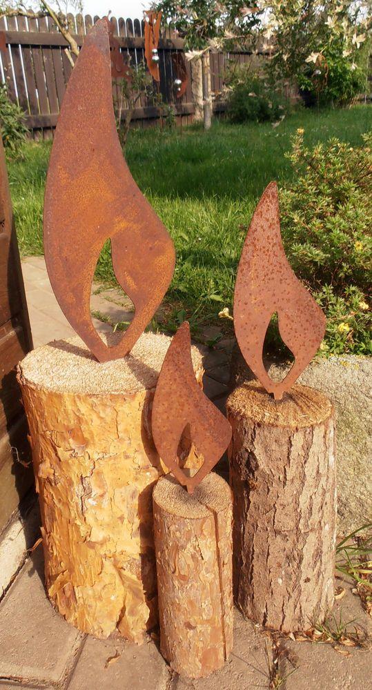 Rost Deko österreich Luxus Edelrost Flammen Mit Dorn 3 Größen Metall Garten Advent