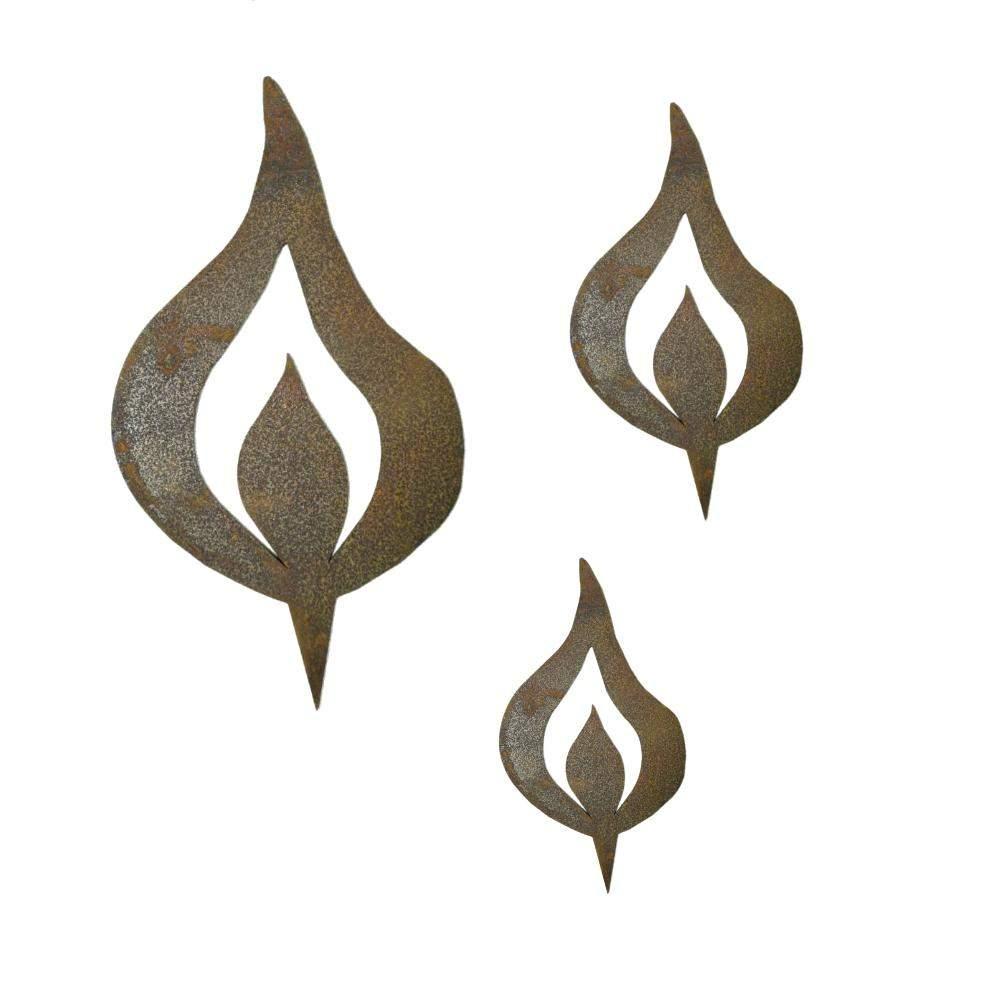 deko garten edelstahl schon rost kerzenflamme mit spies 3er set 80 100 150 mm of deko garten edelstahl