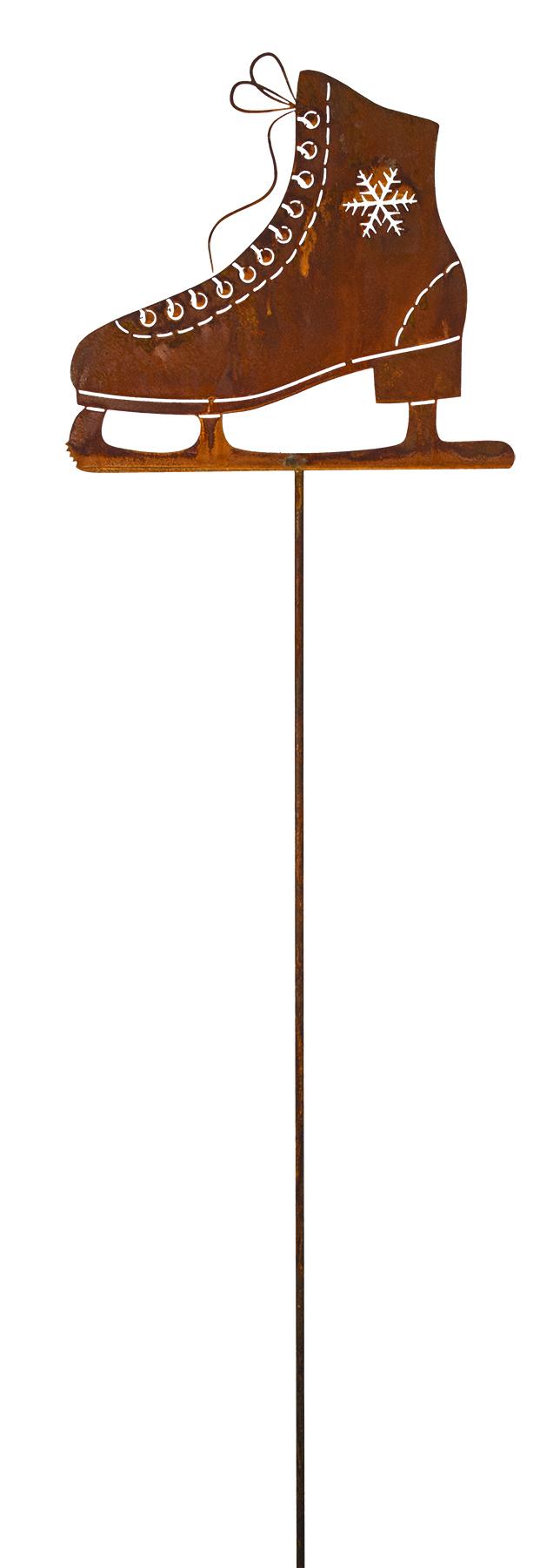 schlittschuh auf stab edelrost rost 23 5x28 cm stab 120 cm