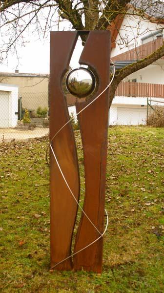 gartendeko 01 hochzeitssaeule mit edelstahlband