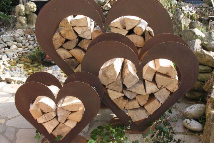 Rostige Herzen Gartendeko Schön Herz Aus Metall Holz Regal Edel Rost Garten Terrasse