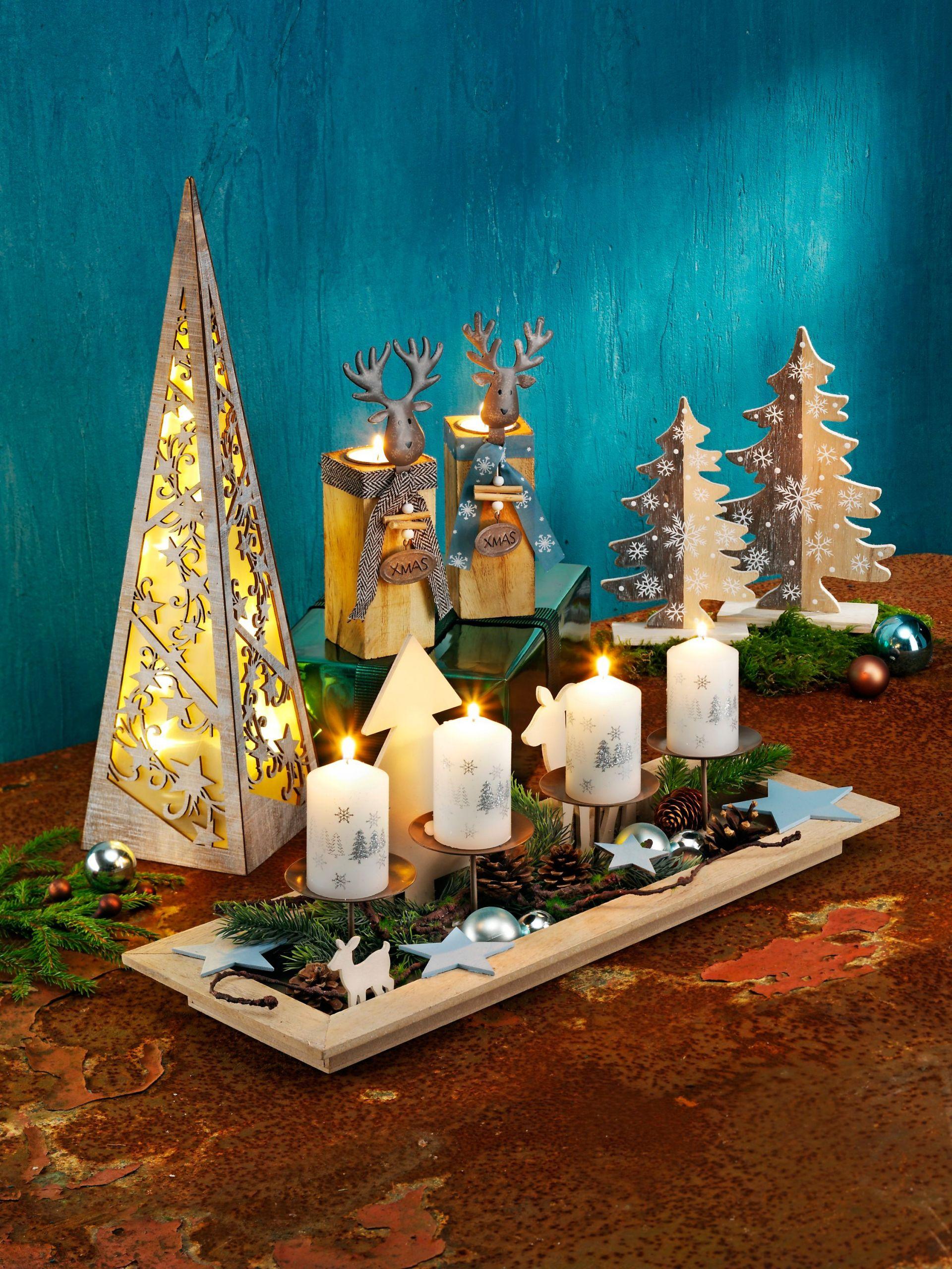 kerzentablett advent mit deko