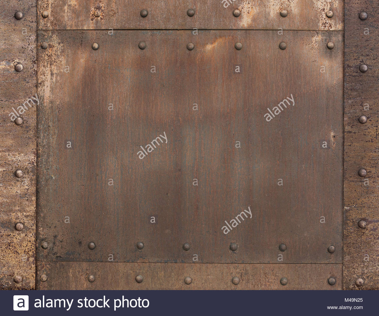 old rusty metal background with rivets M49N25