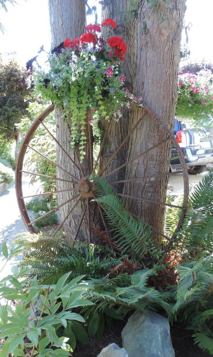 Rustikale Gartendeko Best Of Antique Wagon Wheel Flower Display