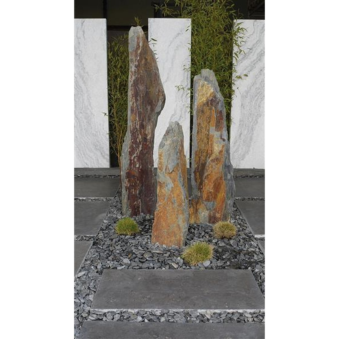 Schiefersaeule braun bunt mit Betonsockel 80 cm