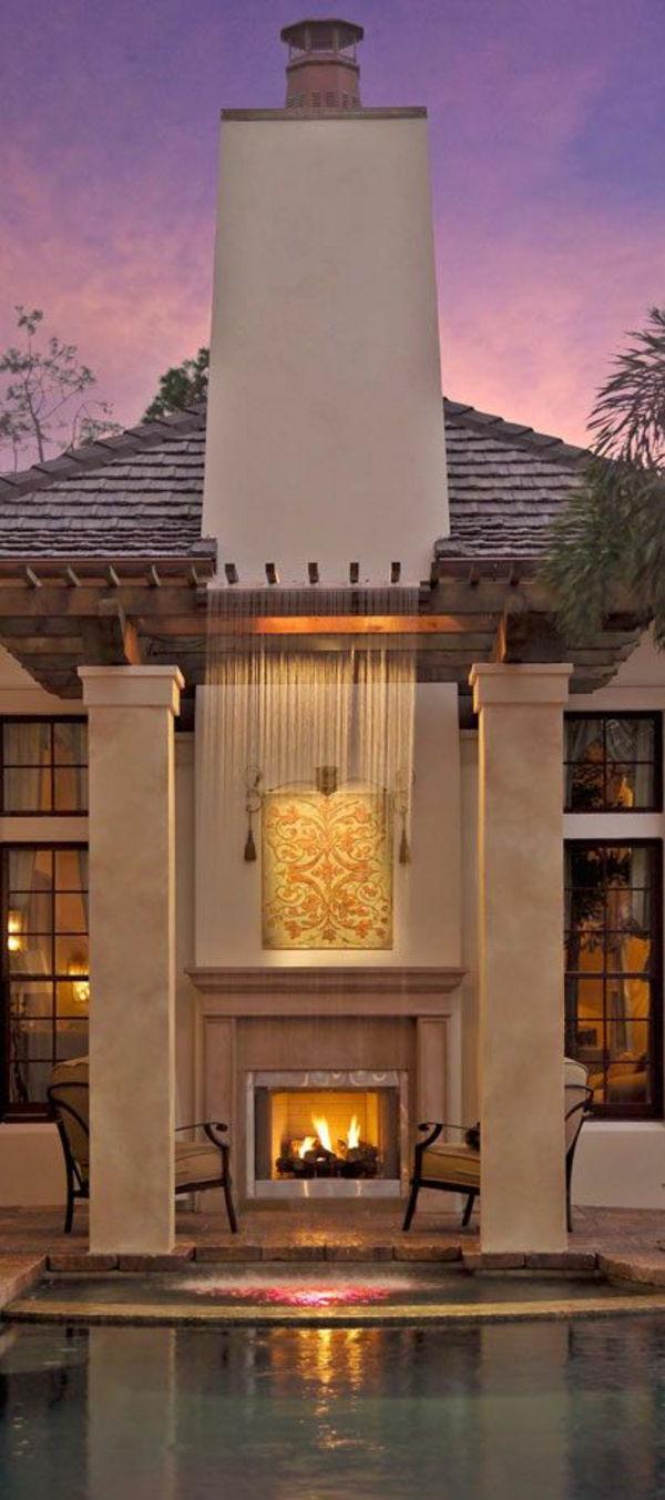 moderne terrassengestaltung dekoideen wasserfall pool kamin