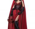 Schwarzes Halloween Kleid Luxus Böses Rotkäppchen Märchen Halloween Damenkostüm Schwarz Rot
