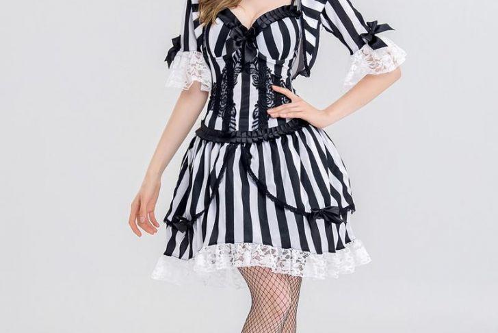 Schwarzes Kleid Halloween Einzigartig Großhandel Frauen Vampir Zombie Kleid Halloween Y Spanish Ghost Cosplay Kleid Schwarz Weiß Streifen Fancy Gothic Kostüm Von Fashionqueenshow
