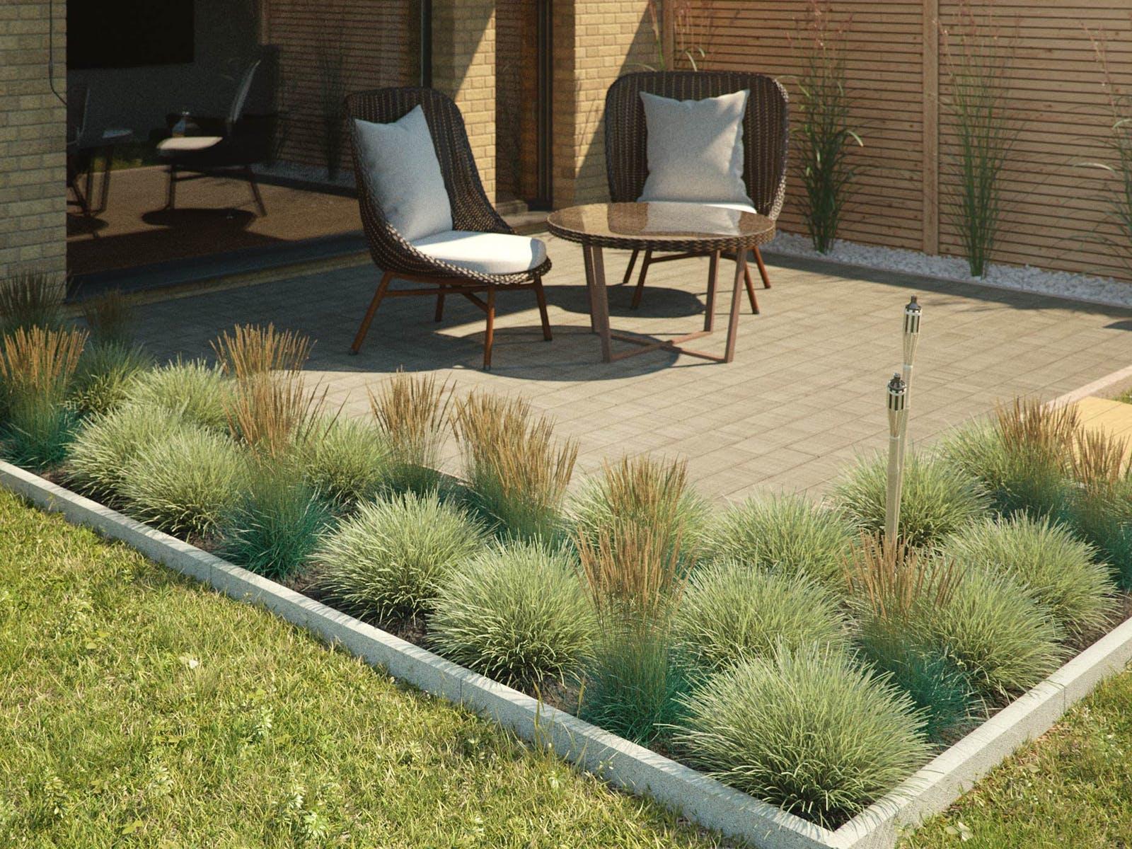 Terrasse Beet Einfassung Gartenmoebel Sichtschutz