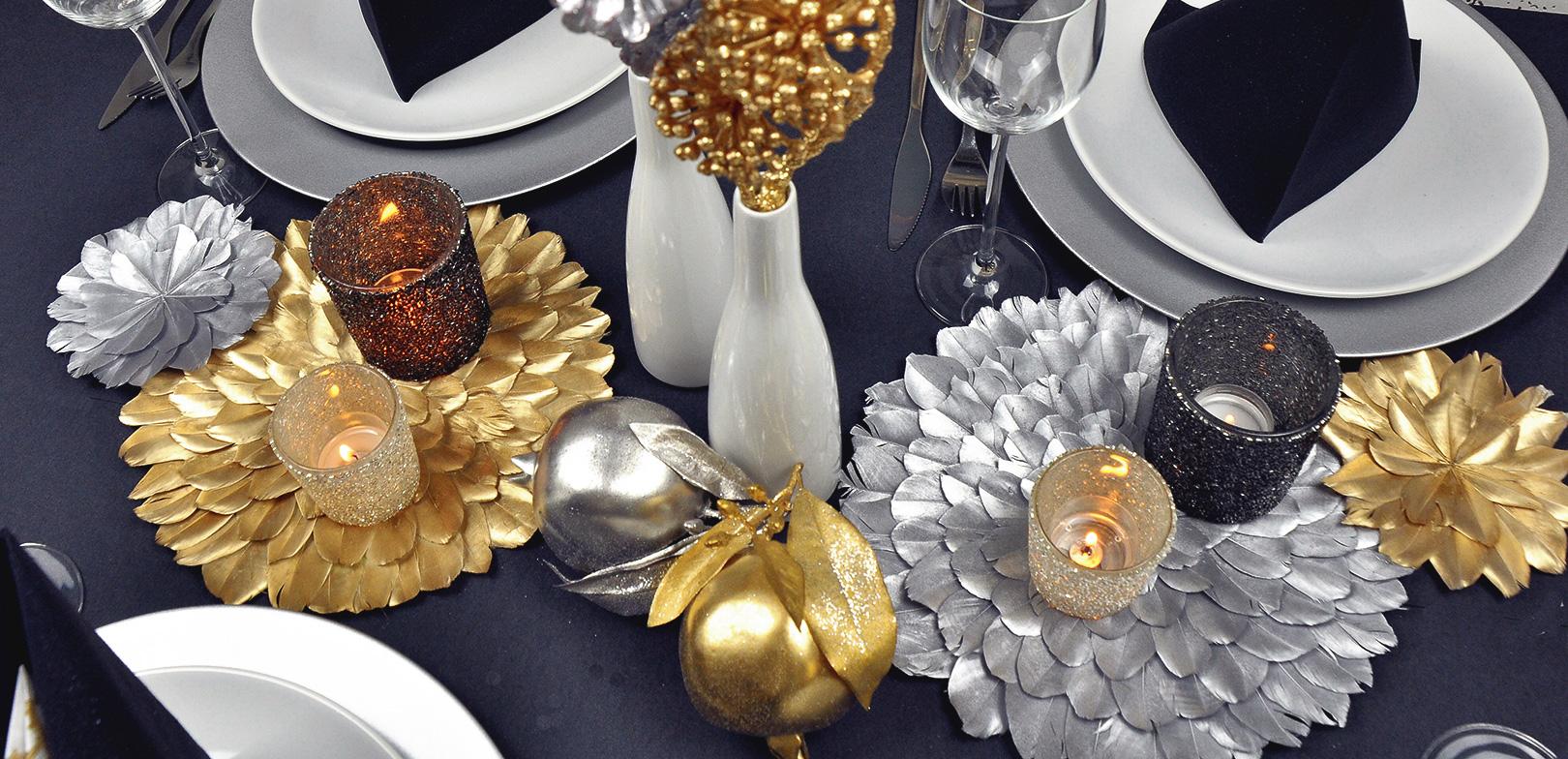 Tischdekoration Schwarz Gold Silber